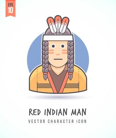 Indiaanse man illustratie Mensen levensstijl en beroep Kleurrijk en stijlvol karakter icon flat vector