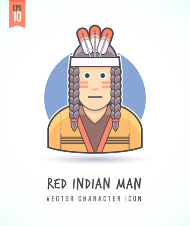 red indian: Red indian man illustration People lifestyle and occupation Colorful and stylish flat vector character icon Illustration