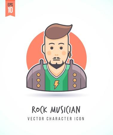 Rock muziekfan illustratie Mensen levensstijl en beroep Kleurrijk en stijlvol karakter icon flat vector