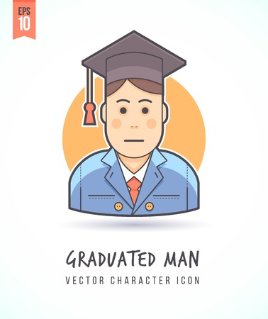Graduating man in cap and gown illustration People lifestyle and occupation Colorful and stylish flat vector character icon Çizim