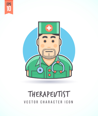 therapeutist: Medical doctor Therapeutist in clinic illustration People lifestyle and occupation Colorful and stylish flat vector character icon