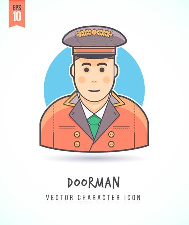 hospitality: Hotel doorman Hospitality service crew member illustration People lifestyle and occupation Colorful and stylish flat vector character icon