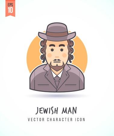 sideburns: Jewish man with sideburns illustration People lifestyle and occupation Colorful and stylish flat vector character icon