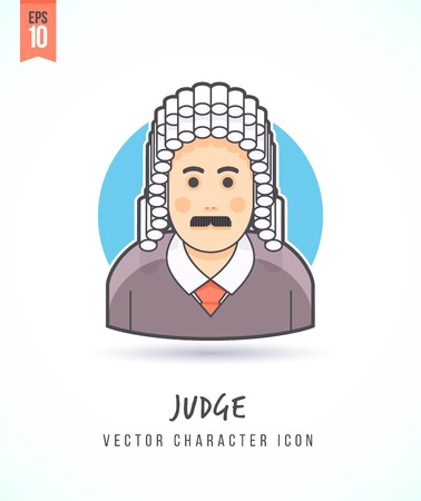 wig: Jusge in traditional judical wig illustration People lifestyle and occupation Colorful and stylish flat vector character icon