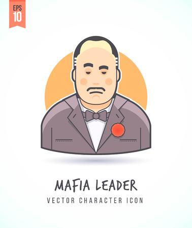 마피아 보스의 그림은 사람들의 라이프 스타일과 직업 화려하고 세련된 평면 벡터 문자 아이콘