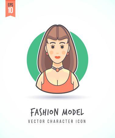 Het mooie meisje van de mannequin vrouw illustratie Mensen levensstijl en beroep Kleurrijk en stijlvol karakter icon flat vector Stock Illustratie