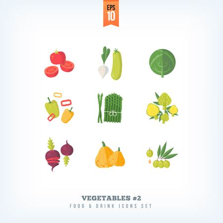 Set of vector flat fresh vegetables icons isolated on white background