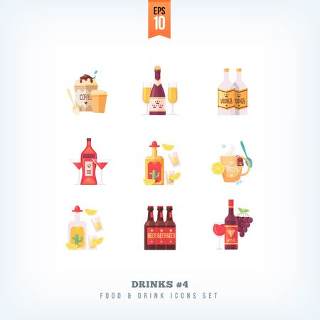 Set of vector flat drinks and beverages icons isolated on white background Illustration