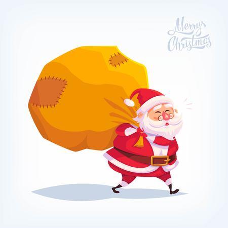 Santa Claus Merry Christmas vector cartoon illustration