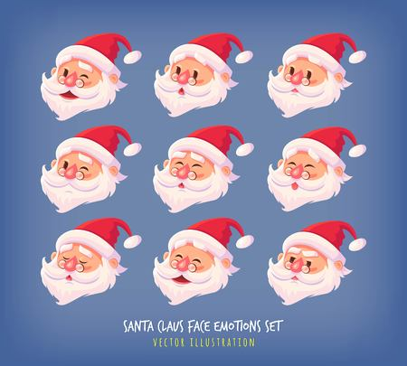 Set of Santa Claus face emotions icons Cute cartoon faces collection Merry Christmas vector illustration Ilustração