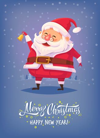 Cute cartoon Santa Claus ringing bell and smiling Merry Christmas vector illustration Greeting card poster
