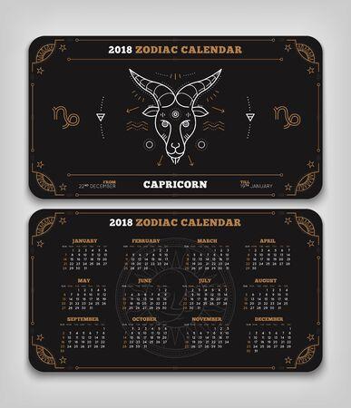 Capricorn 2018 jaar zodiac kalender zakformaat horizontale lay-out. Dubbele kant zwarte kleur ontwerp stijl vector concept illustratie