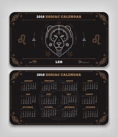 Leo 2018 jaar dierenriem kalender zakformaat horizontale lay-out. Dubbele kant zwarte kleur ontwerp stijl vector concept illustratie