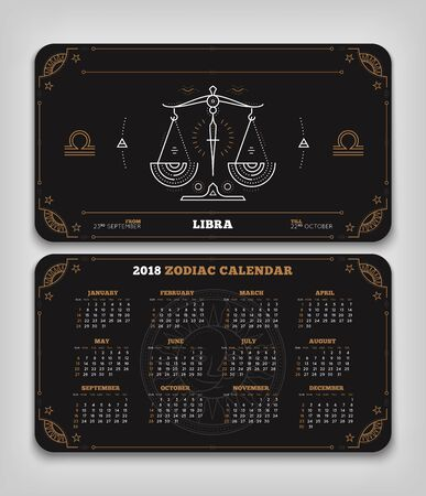 Weegschaal 2018 jaar dierenriem kalender zakformaat horizontale lay-out. Dubbele kant zwarte kleur ontwerp stijl vector concept illustratie