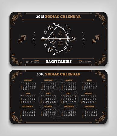Boogschutter 2018 jaar dierenriem kalender zakformaat horizontale lay-out. Dubbele kant zwarte kleur ontwerp stijl vector concept illustratie Stock Illustratie