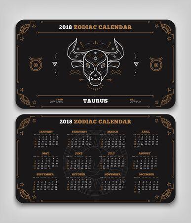 Taurus 2018 jaar zodiac kalender zakformaat horizontale lay-out. Dubbele kant zwarte kleur ontwerp stijl vector concept illustratie Stock Illustratie