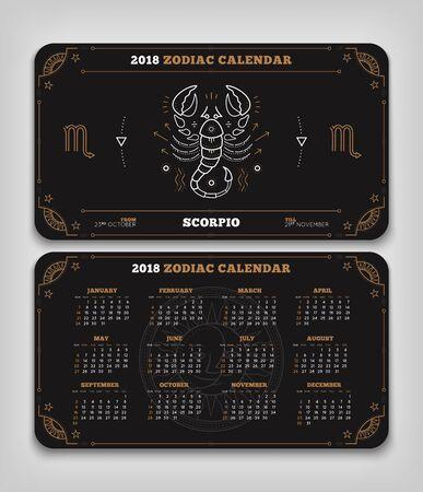 Schorpioen 2018 jaar dierenriem kalender zakformaat horizontale lay-out. Dubbele kant zwarte kleur ontwerp stijl vector concept illustratie Stock Illustratie
