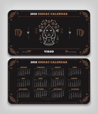 Maagd 2018 jaar zodiac kalender zakformaat horizontale lay-out. Dubbelzijdige zwarte kleur ontwerp stijl vector concept illustratie