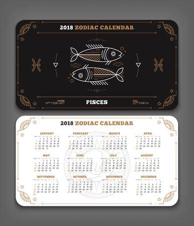 Vissen 2018 jaar dierenriem kalender zakformaat horizontale lay-out. Dubbelzijdige zwart-witte kleur ontwerp stijl vector concept illustratie