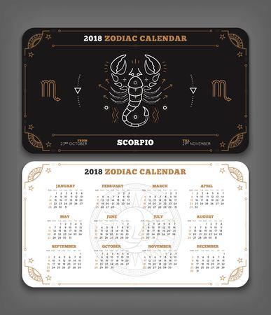 Schorpioen 2018 jaar zodiac kalender zakformaat horizontale lay-out. Dubbelzijdige zwart-wit kleur ontwerp stijl vector concept illustratie
