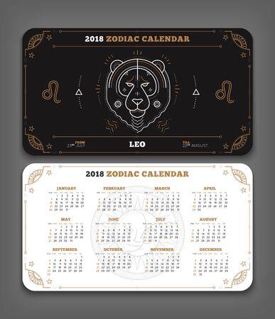Leeuw 2018 jaar dierenriem kalender zakformaat horizontale lay-out. Dubbelzijdige zwart-witte kleur ontwerp stijl vector concept illustratie Stock Illustratie
