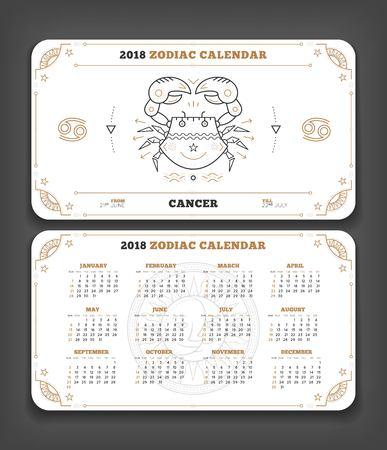 Cancer 2018 jaar dierenriem kalender zakformaat horizontale lay-out. Dubbele kant witte kleur ontwerp stijl vector concept illustratie Stock Illustratie