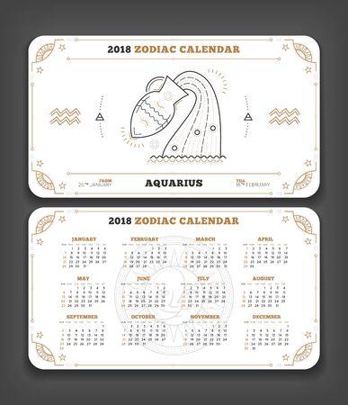 Aquarius 2018 jaar zodiac kalender zakformaat horizontale lay-out. Dubbelzijdig witte kleur ontwerp stijl vector concept illustratie Stock Illustratie