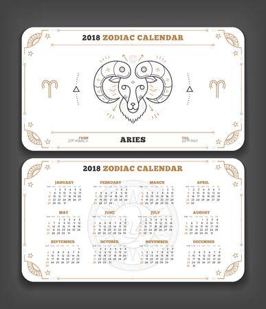 Ram 2018 jaar dierenriem kalender zakformaat horizontale lay-out. Dubbele kant witte kleur ontwerp stijl vector concept illustratie Stock Illustratie