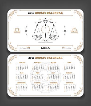 Weegschaal 2018 jaar dierenriem kalender zakformaat horizontale lay-out. Dubbele kant witte kleur ontwerp stijl vector concept illustratie