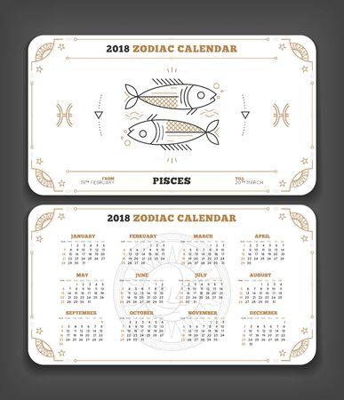 Van de het jaarriemriakalender van Vissen 2018 van de de kalenderzak de grootte horizontale lay-out. Dubbele zij witte het ontwerp vectorillustratie van de kleurenontwerpstijl