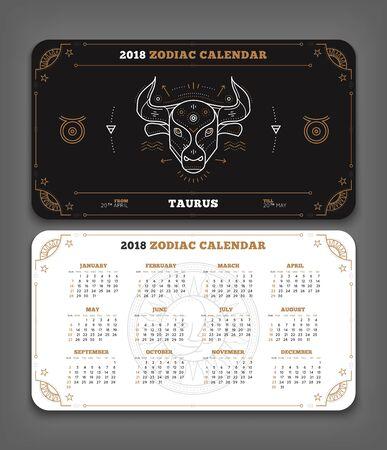 Taurus 2018 jaar zodiac kalender zakformaat horizontale lay-out. Dubbelzijdige zwart-witte kleur ontwerp stijl vector concept illustratie