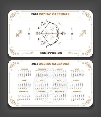 Boogschutter 2018 jaar dierenriem kalender zakformaat horizontale lay-out. Dubbele kant witte kleur ontwerp stijl vector concept illustratie Stock Illustratie