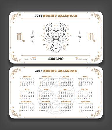 Schorpioen 2018 jaar dierenriem kalender zakformaat horizontale lay-out. Dubbele kant witte kleur ontwerp stijl vector concept illustratie Stock Illustratie