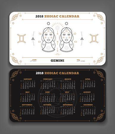 Gemini 2018 jaar zodiac kalender zakformaat horizontale lay-out. Dubbelzijdige zwart-witte kleur ontwerp stijl vector concept illustratie