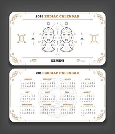 Tweeling 2018 jaar dierenriem kalender zakformaat horizontale lay-out. Dubbele kant witte kleur ontwerp stijl vector concept illustratie