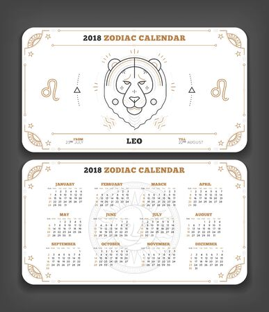 Leo 2018 jaar dierenriem kalender zakformaat horizontale lay-out. Dubbele kant witte kleur ontwerp stijl vector concept illustratie