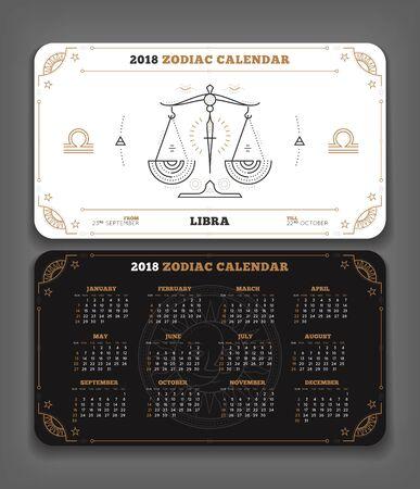 Weegschaal 2018 jaar dierenriem kalender zakformaat horizontale lay-out. Dubbelzijdige zwart-witte kleur ontwerp stijl vector concept illustratie