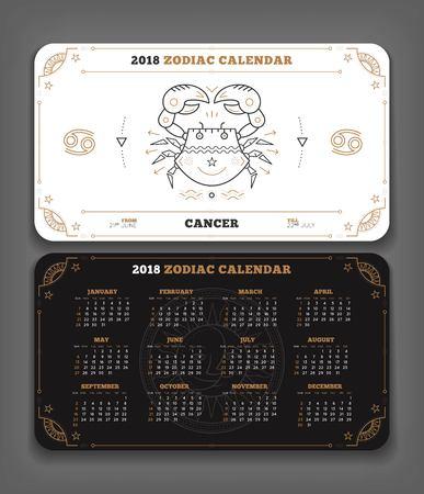 Cancer 2018 jaar dierenriem kalender zakformaat horizontale lay-out. Dubbelzijdige zwart-witte kleur ontwerp stijl vector concept illustratie Stock Illustratie