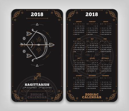 Boogschutter 2018 jaar zodiac kalender zakformaat verticale lay-out. Dubbelzij zwarte kleur ontwerp stijl vector concept illustratie