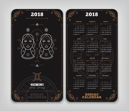 Tweeling 2018 jaar zodiac kalender zakformaat verticale lay-out. Dubbelzij zwarte kleur ontwerp stijl vector concept illustratie