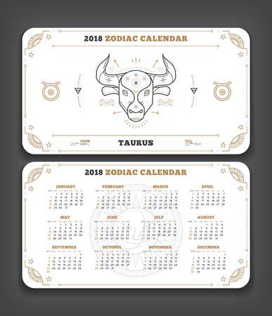 Stier 2018 van de de kalenderzak van het jaardierenriem de horizontale grootte lay-out. Dubbele zij witte het ontwerp vectorillustratie van de kleurenontwerpstijl Stock Illustratie
