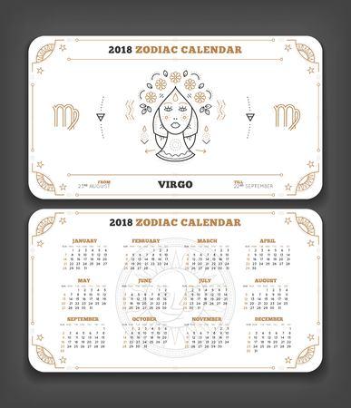 Maagd 2018 jaar zodiac kalender zakformaat horizontale lay-out. Dubbele kant witte kleur ontwerp stijl vector concept illustratie