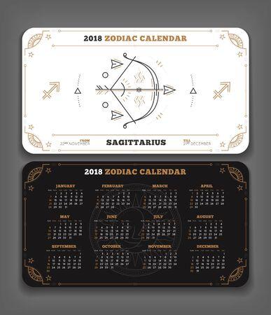 Boogschutter 2018 jaar dierenriem kalender zakformaat horizontale lay-out. Dubbelzijdige zwart-witte kleur ontwerp stijl vector concept illustratie Stock Illustratie