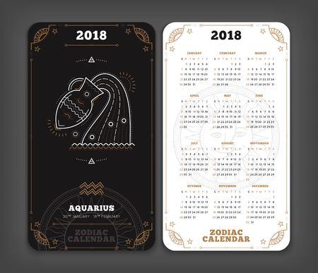 Waterman 2018 jaar zodiac kalender zakformaat verticale lay-out. Dubbelzijdige zwart-witte kleur ontwerp stijl vector concept illustratie
