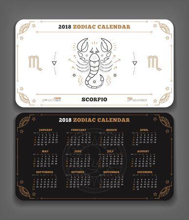 Schorpioen 2018 jaar dierenriem kalender zakformaat horizontale lay-out. Dubbelzijdige zwart-witte kleur ontwerp stijl vector concept illustratie