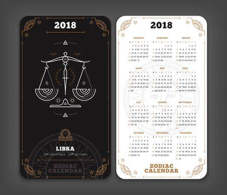 Weegschaal 2018 jaar dierenriem kalender zakformaat verticale lay-out. Dubbelzijdige zwart-witte kleur ontwerp stijl vector concept illustratie Stock Illustratie
