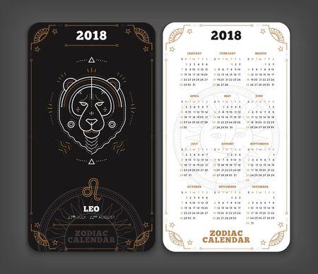 Leo 2018 jaar zodiac kalender zakformaat verticale lay-out. Dubbelzijdige zwart-witte kleur ontwerp stijl vector concept illustratie Stock Illustratie