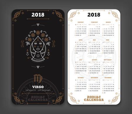 Maagd 2018 jaar zodiac kalender zakformaat verticale lay-out. Dubbelzijdige zwart-witte kleur ontwerp stijl vector concept illustratie