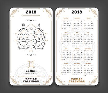 Tweeling 2018 jaar zodiac kalender zakformaat verticale lay-out. Dubbele kant witte kleur ontwerp stijl vector concept illustratie
