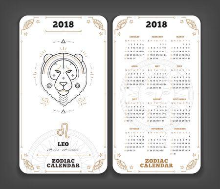 Leo 2018 jaar zodiac kalender zakformaat verticale lay-out. Dubbele kant witte kleur ontwerp stijl vector concept illustratie